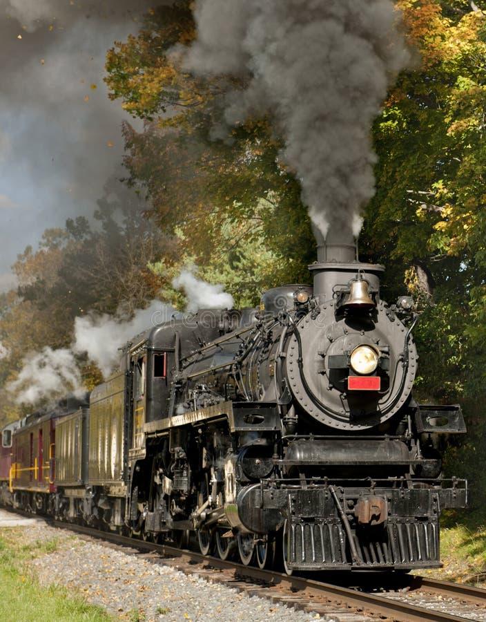 Train de vapeur par le feuillage d'automne images stock