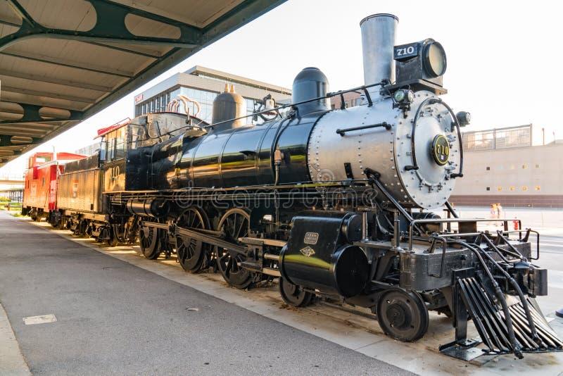 Train de vapeur près de Haymarket dans Lincoln, Nébraska image libre de droits