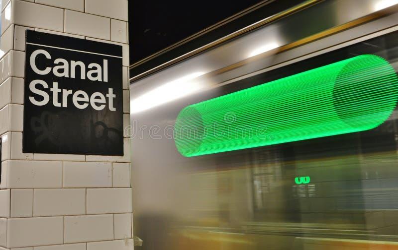 Train de vitesse rapide de plate-forme de MTA de Canal Street de station de métro de New York City image libre de droits