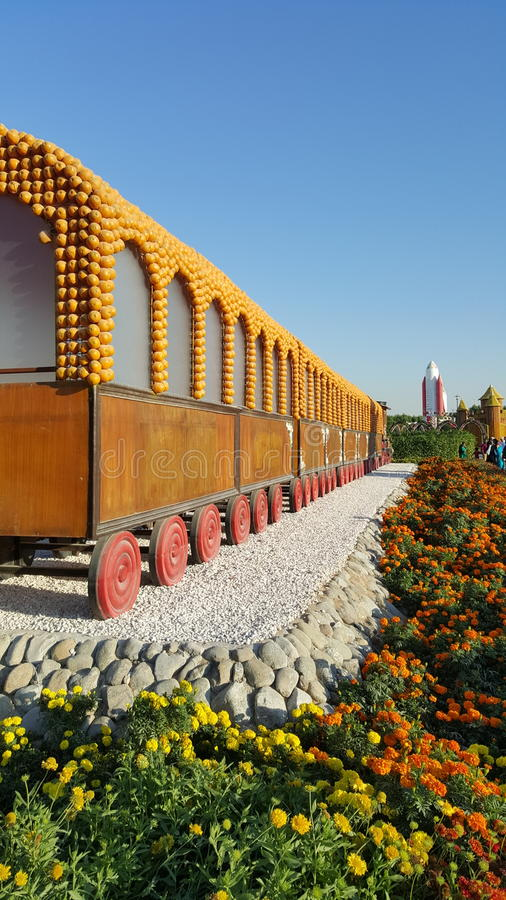 Train Decorated with fruits royalty free stock images