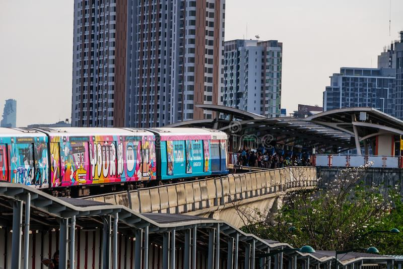 The train depart from Mo chit station. BTS Mo chit sky train station,Bangkok Thailand 8 Apr 2019:The train depart from Mo chit station royalty free stock images