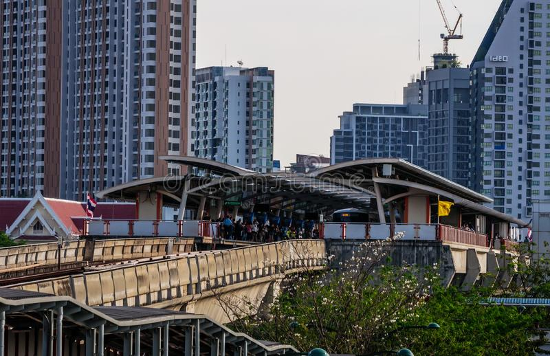 The train depart from Mo chit station. BTS Mo chit sky train station,Bangkok Thailand 8 Apr 2019:The train depart from Mo chit station royalty free stock image