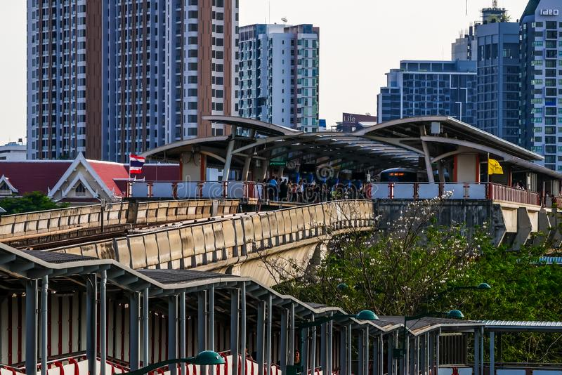 The train depart from Mo chit station. BTS Mo chit sky train station,Bangkok Thailand 8 Apr 2019:The train depart from Mo chit station stock images