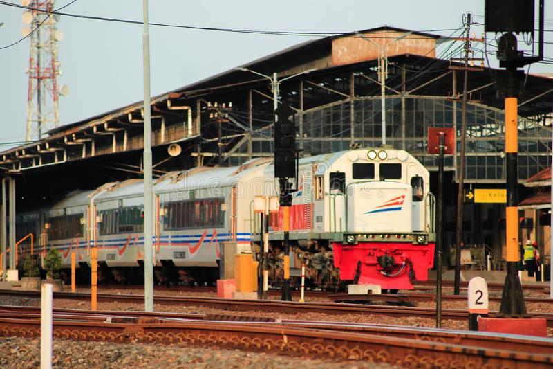 The train depart from Semarang. This photo take in Semarang Poncol Station, the train depart from Semarang to Tegal stock images