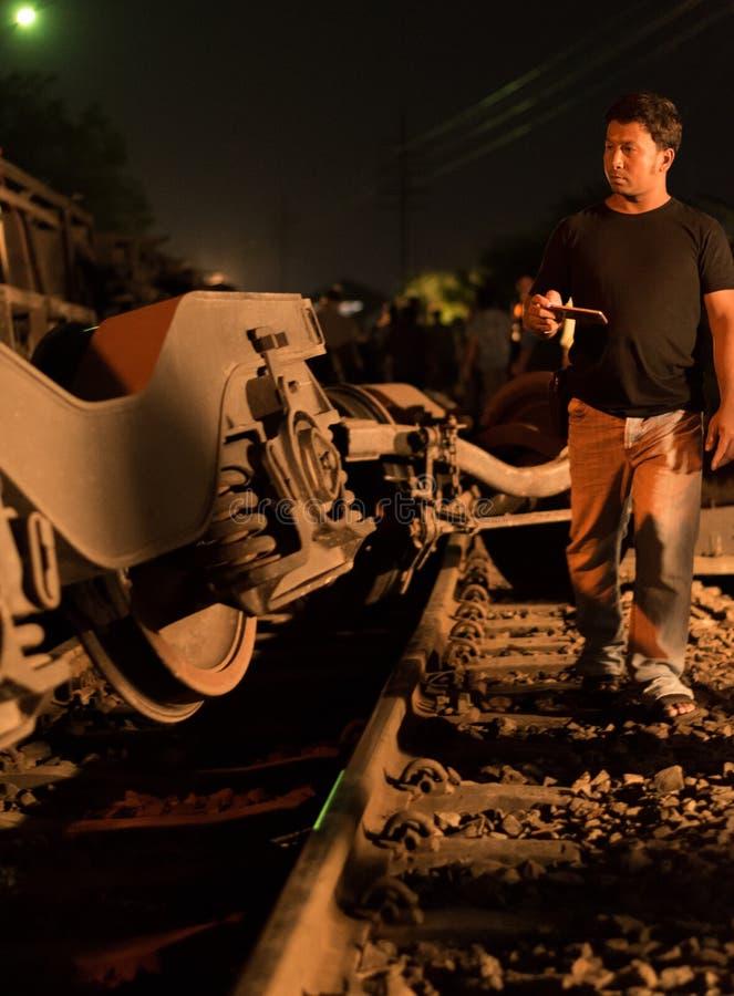 Train Derailment in Nakhon Ratchasima, Thailand. 10/7/2017 stock image
