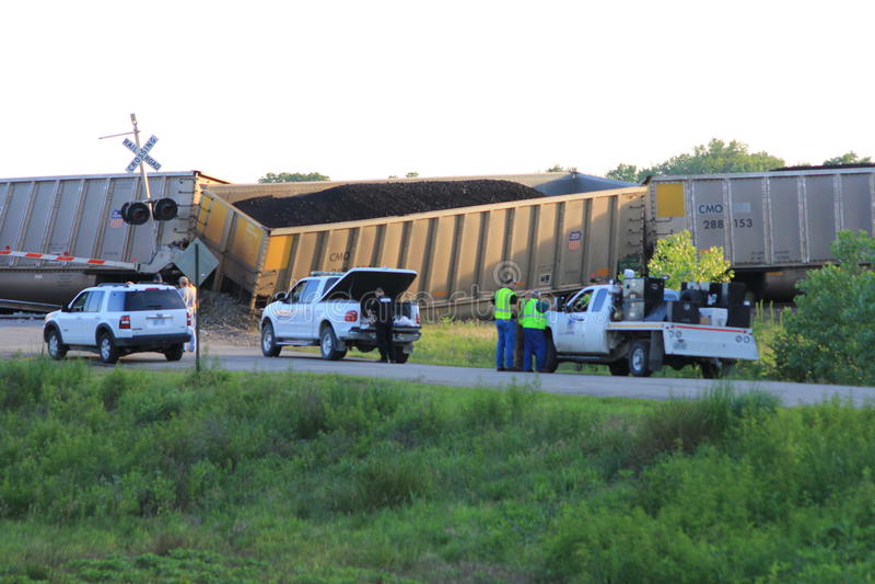 Train derailment near Silverlake, Kansas royalty free stock images
