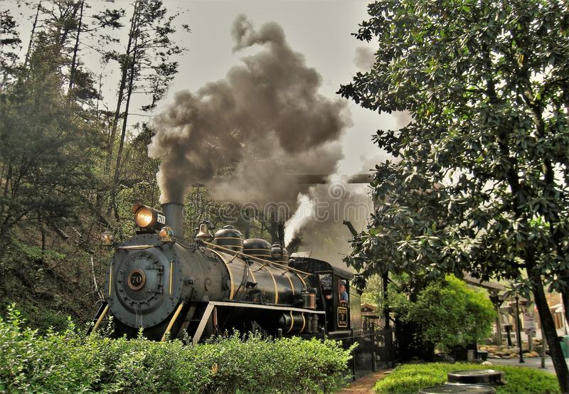Train at Dollywood in Tennessee royalty free stock photography