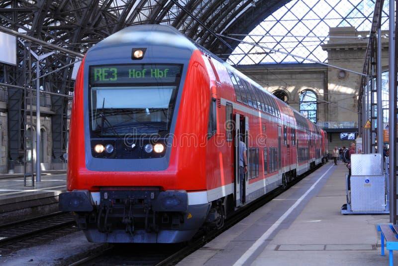 Train in Dresden Main station stock photo