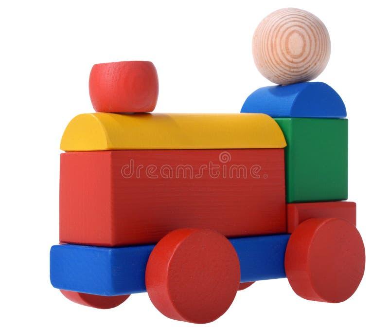 Train en bois coloré de jouet photographie stock libre de droits