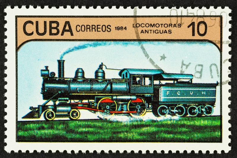 Train Engine on Cuban Postage Stamp royalty free stock image