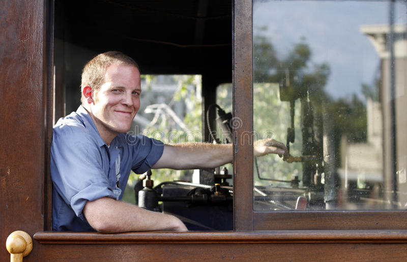 Download Train engineer stock image. Image of male, driving, cabin - 17125139