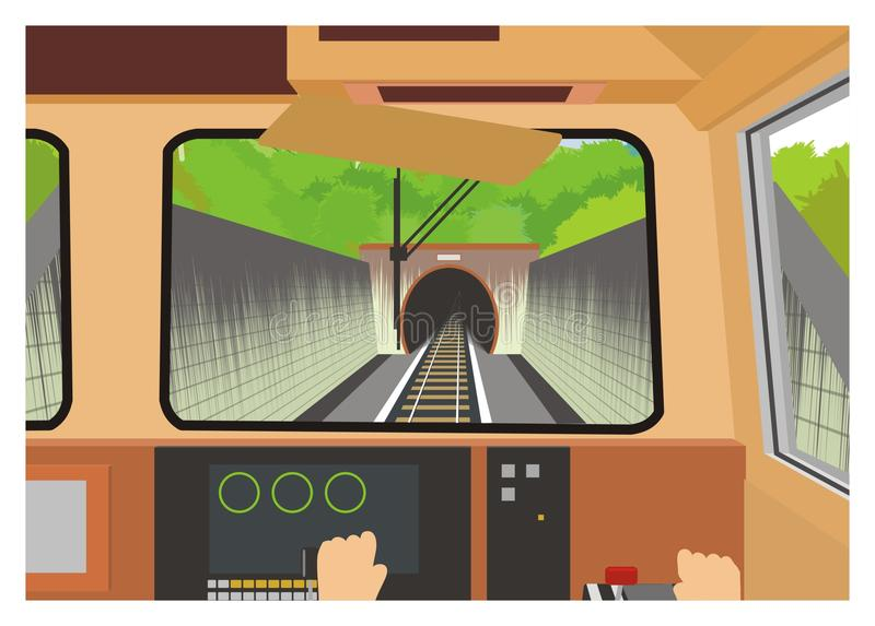Train entering tunnel, engineer's view stock illustration