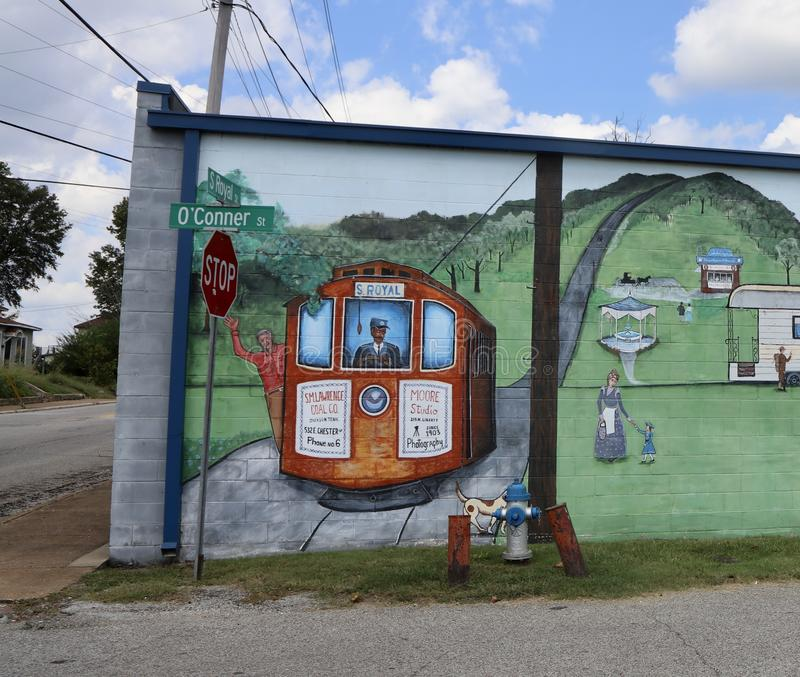 Train et chef d'orchestre Painting Jackson, Tennessee photo stock