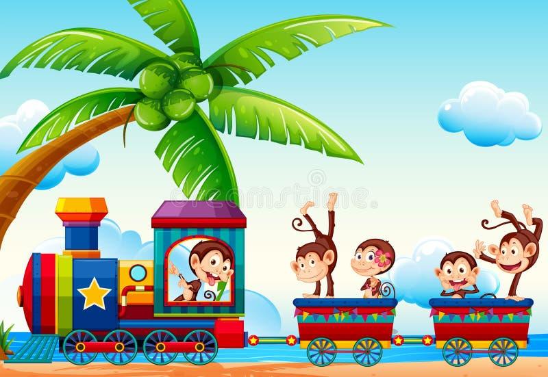 Train et singes illustration libre de droits