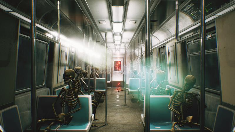 Train ferroviaire abandonné d'horreur avec des squelettes Scène apocalyptique d'horreur et de courrier rendu 3d illustration stock