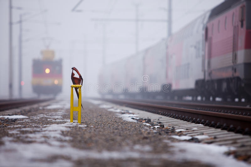 Train on foggy branch line