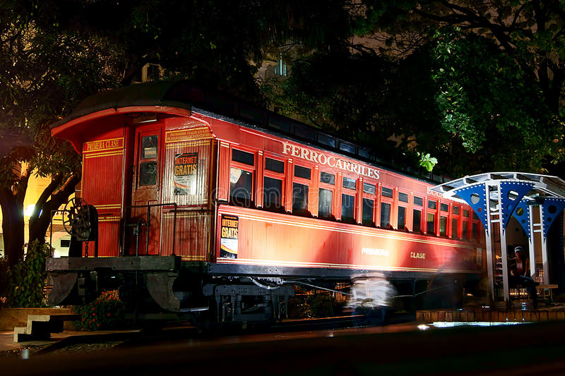Train in Guayaquil, Ecuador. The ferrocarril (train), illuminated at night at Malecón 2000 in Guayaquil, Ecuador royalty free stock photography