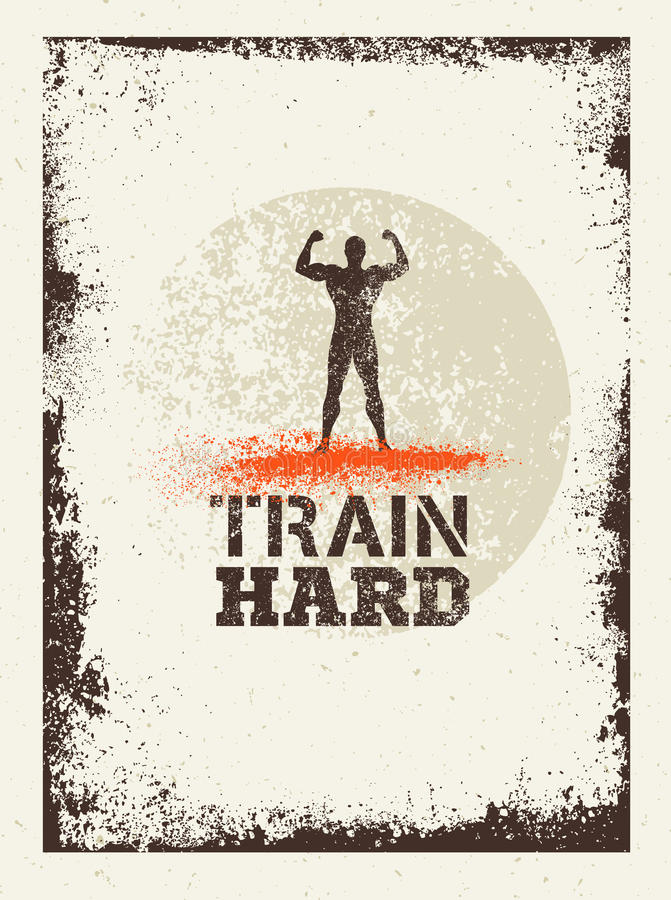 Train Hard Barbell Creative Workout and Fitness Motivation Concept. Vector Typography Grunge Banner stock illustration