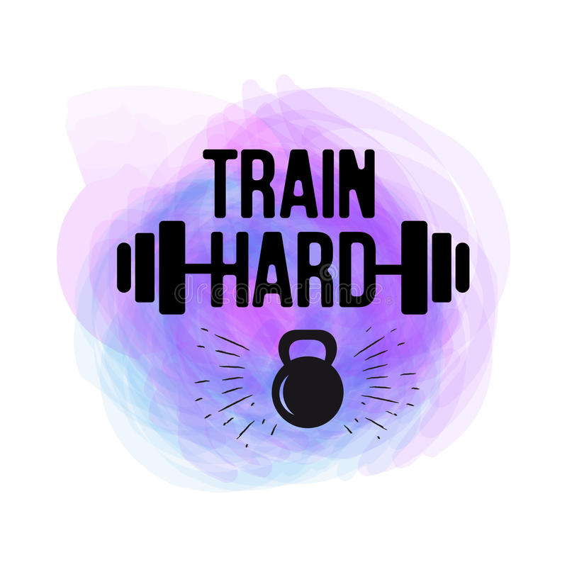 Train Hard typographical poster. watercolor vector fitness background for design t-shirt, posters. Motivational and stock illustration