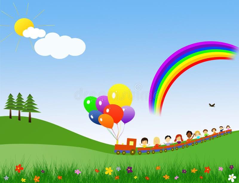 Train heureux d'enfants illustration de vecteur