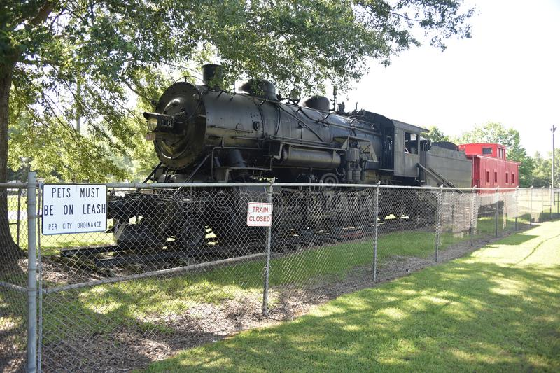 Train at Highland Park, Meridian, Mississippi. The  park is also home to the Highland Park Dentzel Carousel and Shelter Building, a National Historic Landmark royalty free stock image