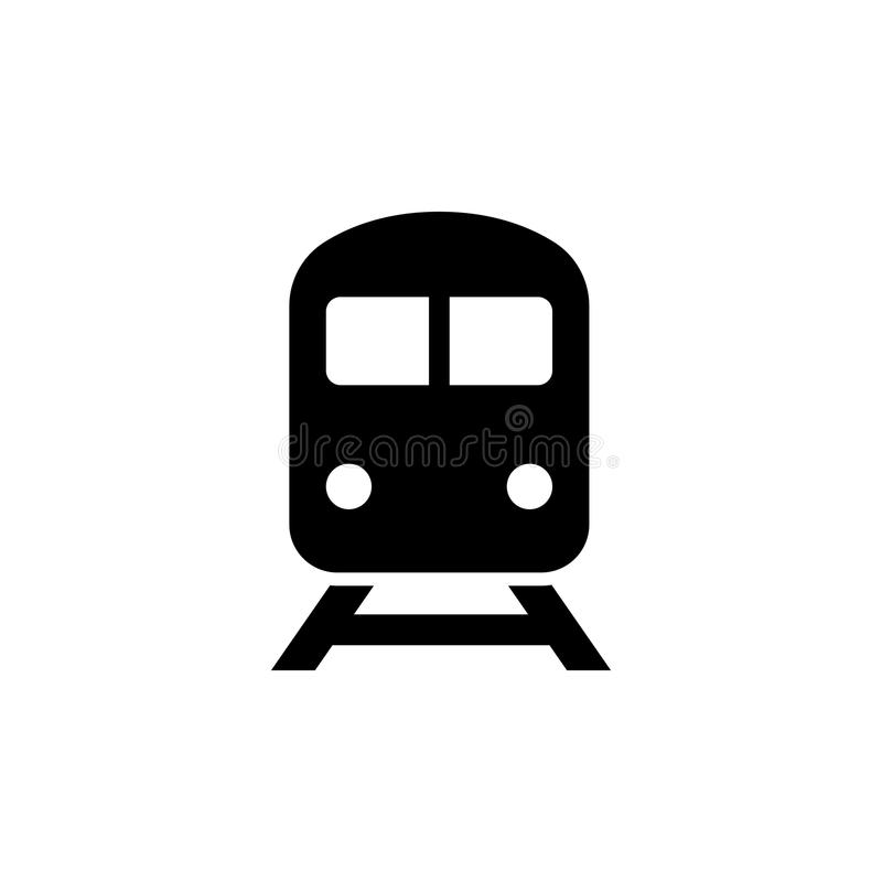 Train icon in flat style. Train with railway symbol isolated on white background. Simple abstract icon in black. Vector illustration for graphic design, Web vector illustration