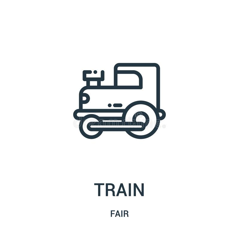 train icon vector from fair collection. Thin line train outline icon vector illustration. Linear symbol for use on web and mobile stock illustration