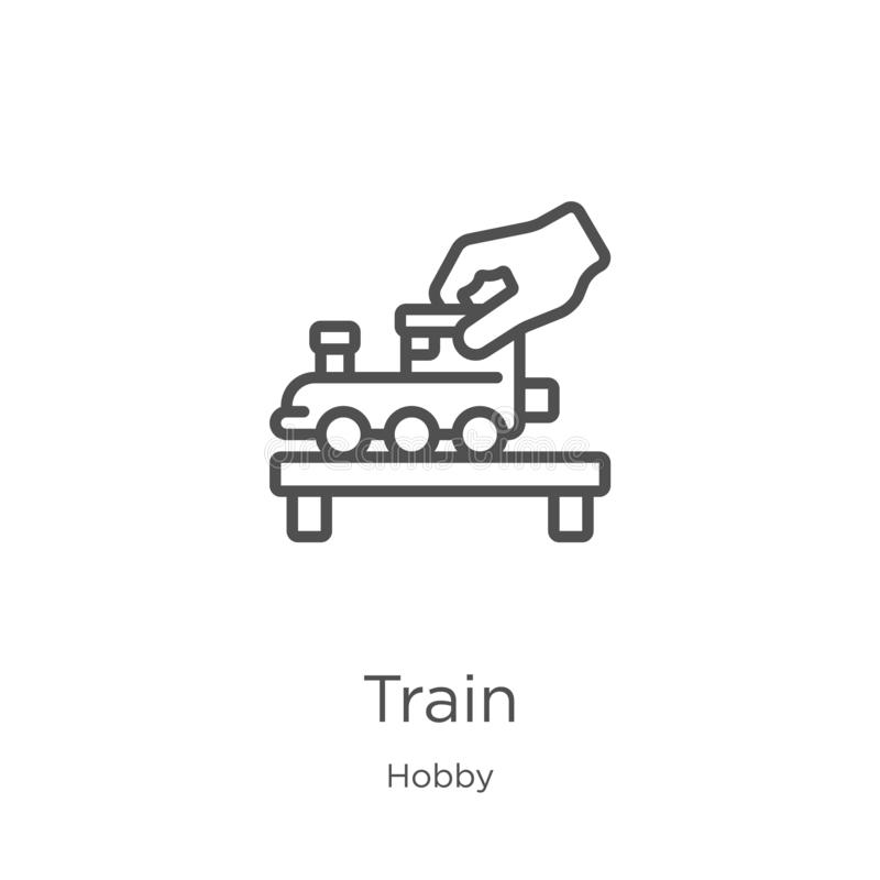 train icon vector from hobby collection. Thin line train outline icon vector illustration. Outline, thin line train icon for stock illustration