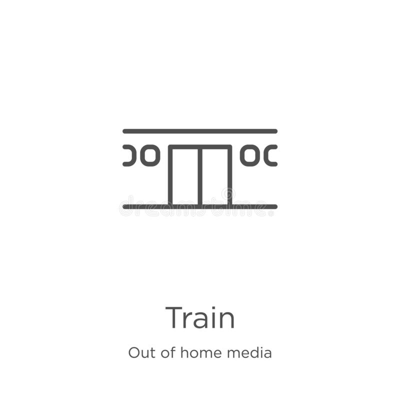 train icon vector from out of home media collection. Thin line train outline icon vector illustration. Outline, thin line train stock illustration