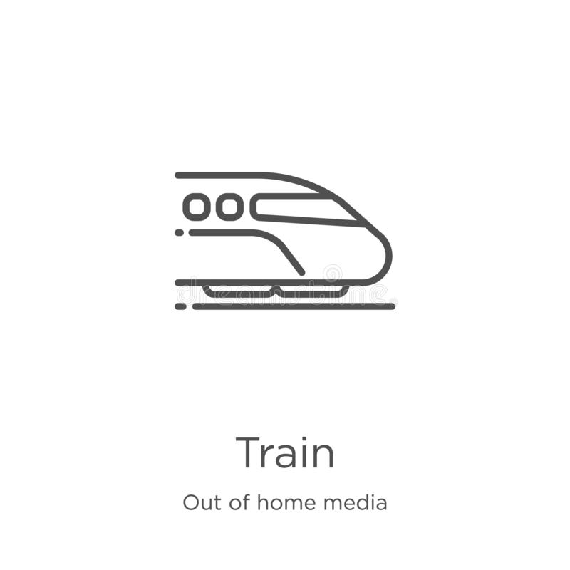 train icon vector from out of home media collection. Thin line train outline icon vector illustration. Outline, thin line train vector illustration