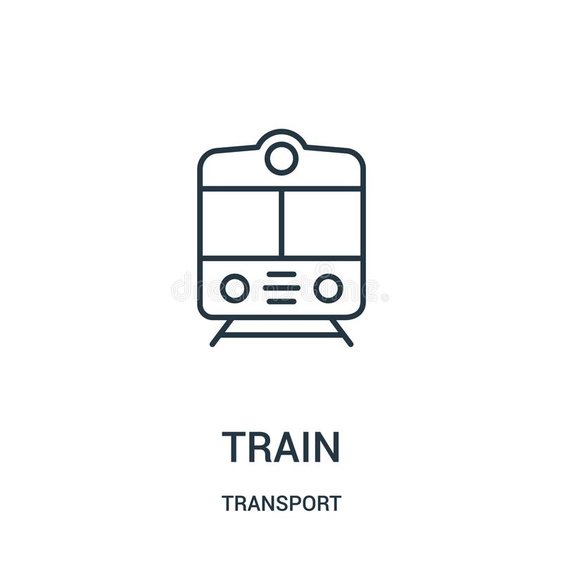 train icon vector from transport collection. Thin line train outline icon vector illustration stock illustration