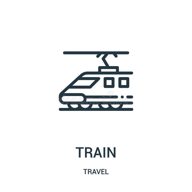 train icon vector from travel collection. Thin line train outline icon vector illustration. Linear symbol for use on web and vector illustration