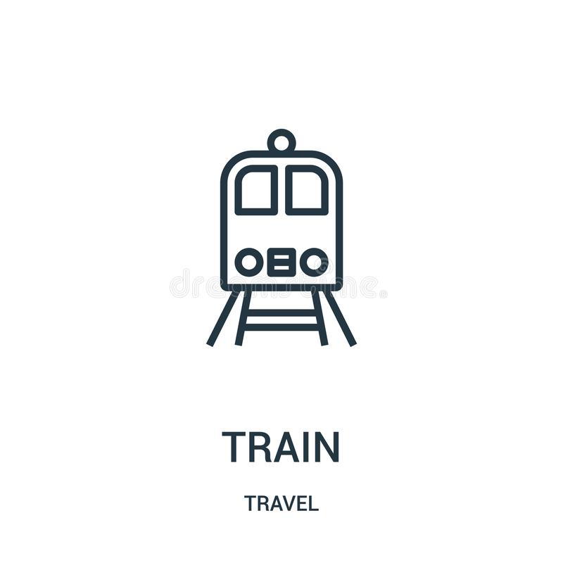 train icon vector from travel collection. Thin line train outline icon vector illustration. Linear symbol for use on web and royalty free illustration