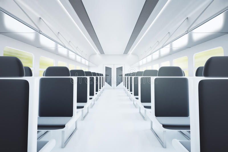 Train interior with black seats royalty free illustration