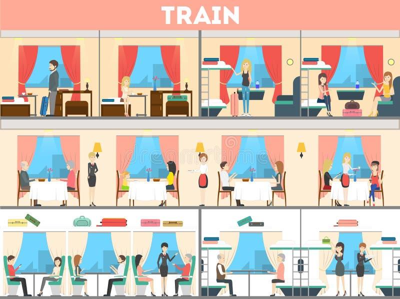 Train interior set. vector illustration