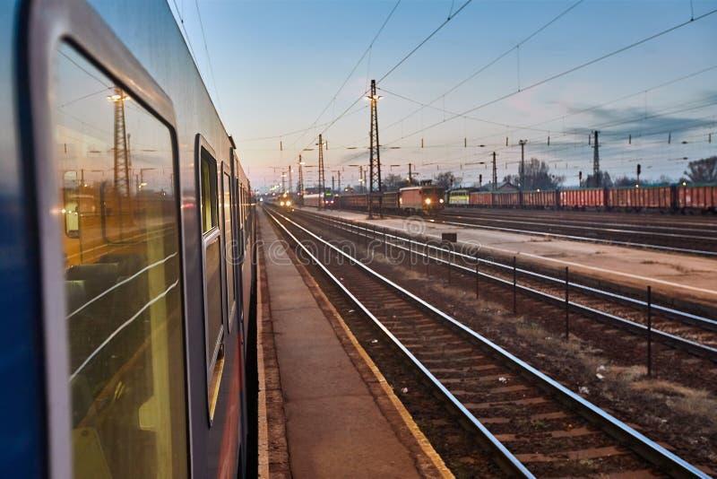 Train Journey at Dusk stock image