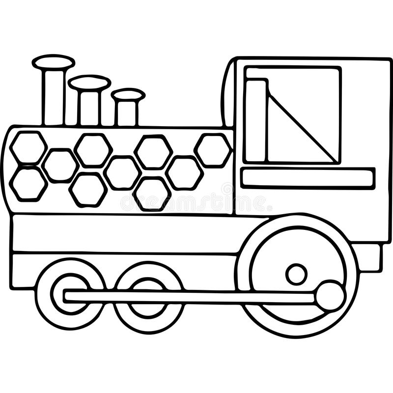 Train Kids Coloring Pages Geometrical Figures Stock Illustration ...