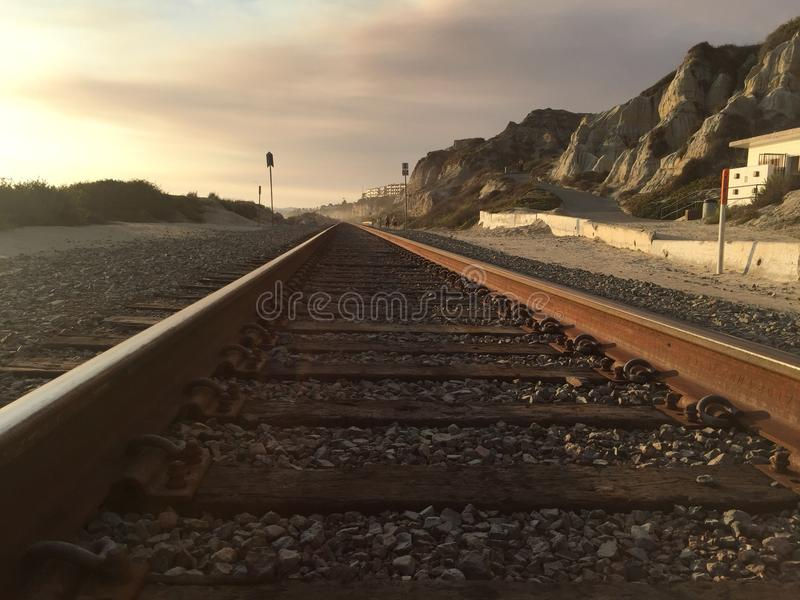 Train lane San Clemente Beach. Photo show the nature and scenery of San Clemente State Beach royalty free stock photo