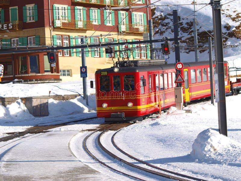 Train at Lauterbrunnen, Interlaken stock photo