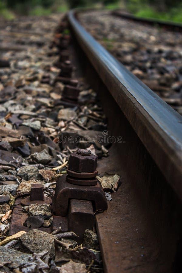 Train line screw stock photo