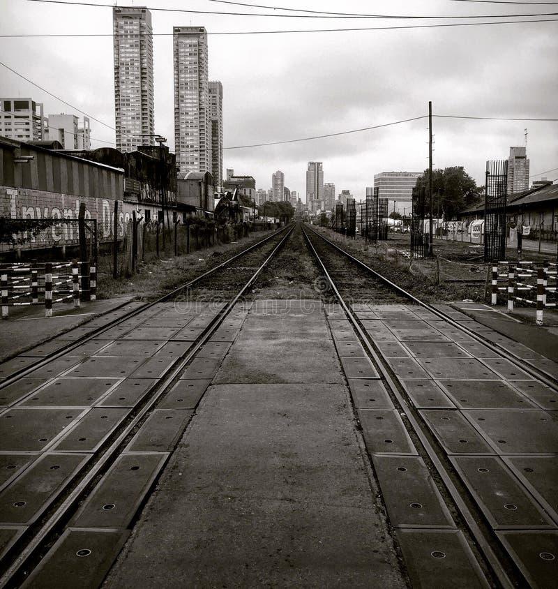Train lines stock image