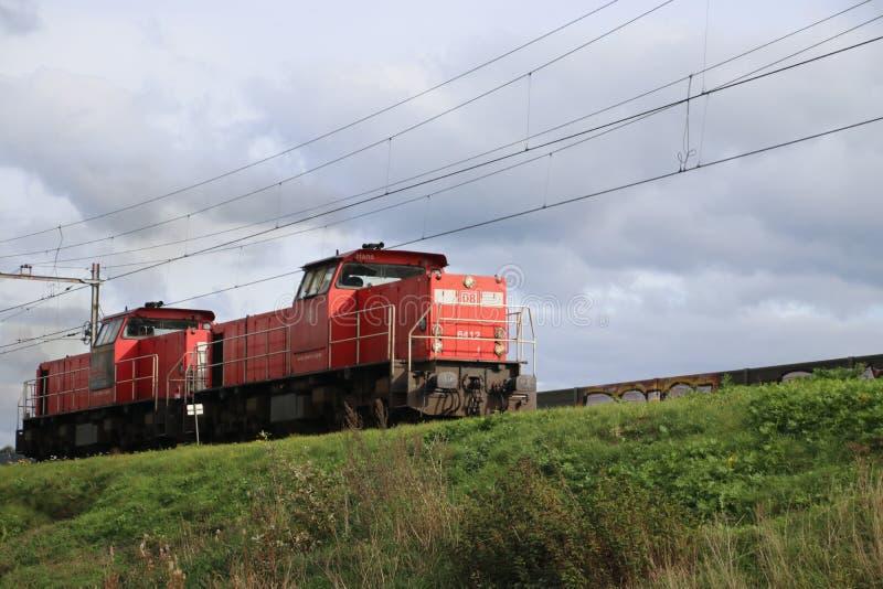 Train locomotive for freight train of DB is running at the railroad track in Nieuwerkerk aan den IJssel in the Netherlands stock photos