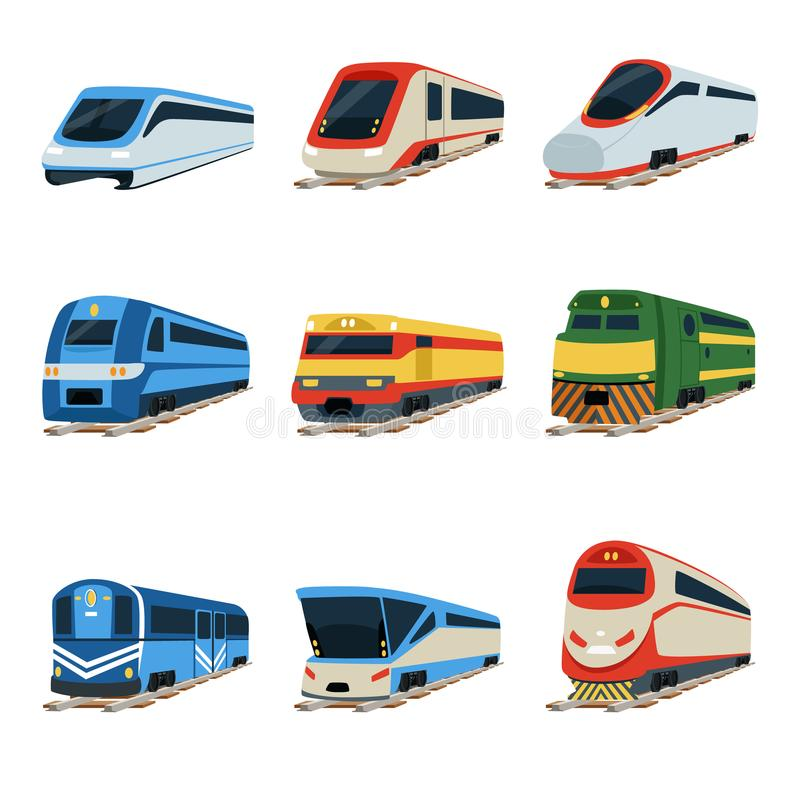 Train locomotive set, railway carriage vector Illustrations royalty free illustration