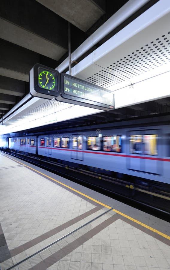 Train in metro station, Vienna, Austria royalty free stock photos