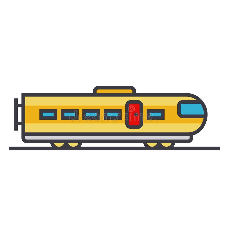 Train modern flat line illustration, concept vector icon royalty free illustration