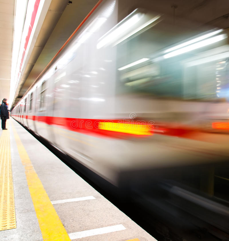 Train motion blur subway stock images