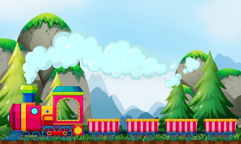 Train and mountain stock illustration