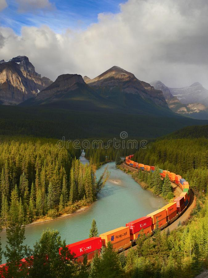 Train Moving in Mountains stock photos