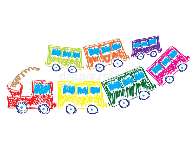 Train with multicolored cars royalty free stock photo