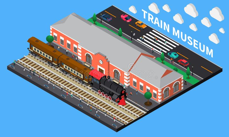 Train Museum Isometric Composition. With diesel locomotive and brick station building in retro style vector illustration stock illustration